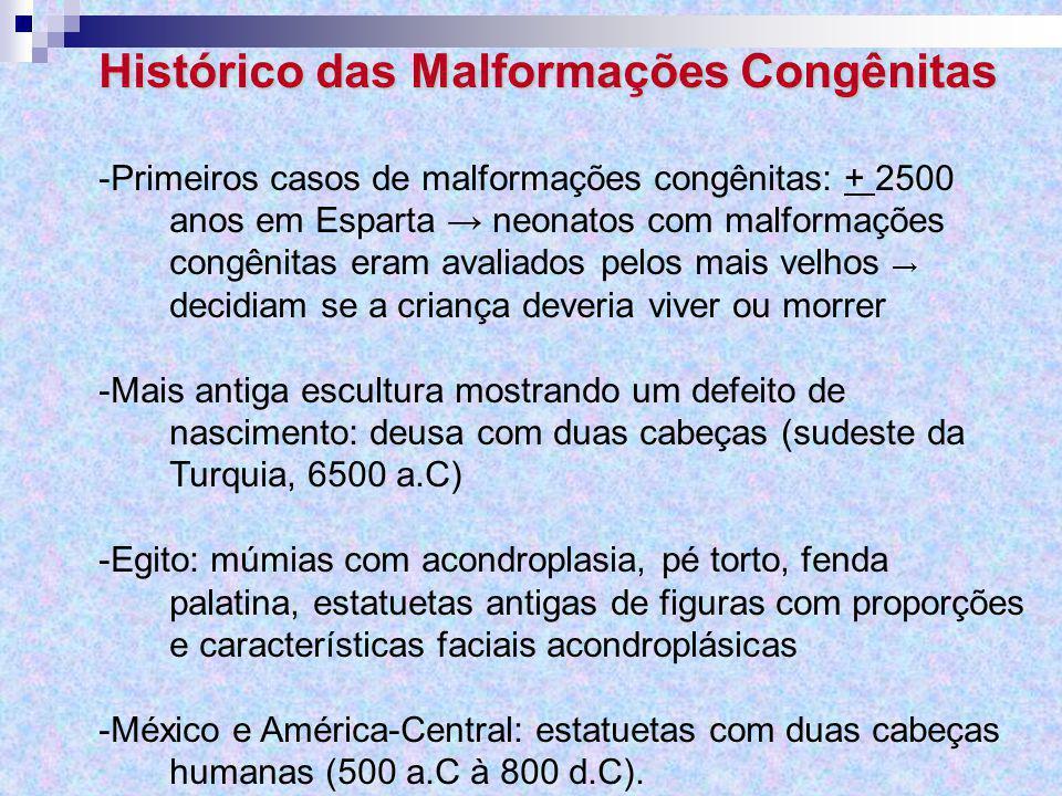 Histórico das Malformações Congênitas -Primeiros casos de malformações congênitas: + 2500 anos em Esparta → neonatos com malformações congênitas eram