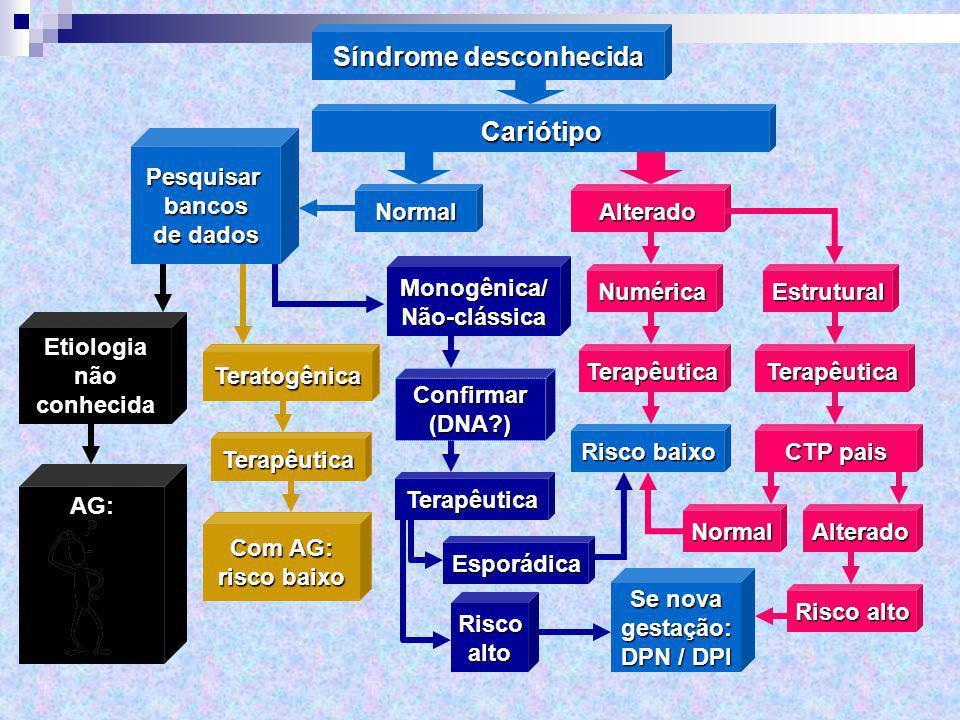 Síndrome desconhecida Cariótipo AlteradoNormal Estrutural TerapêuticaTerapêutica Se nova gestação: DPN / DPI Risco baixo NormalAlterado CTP pais Risco