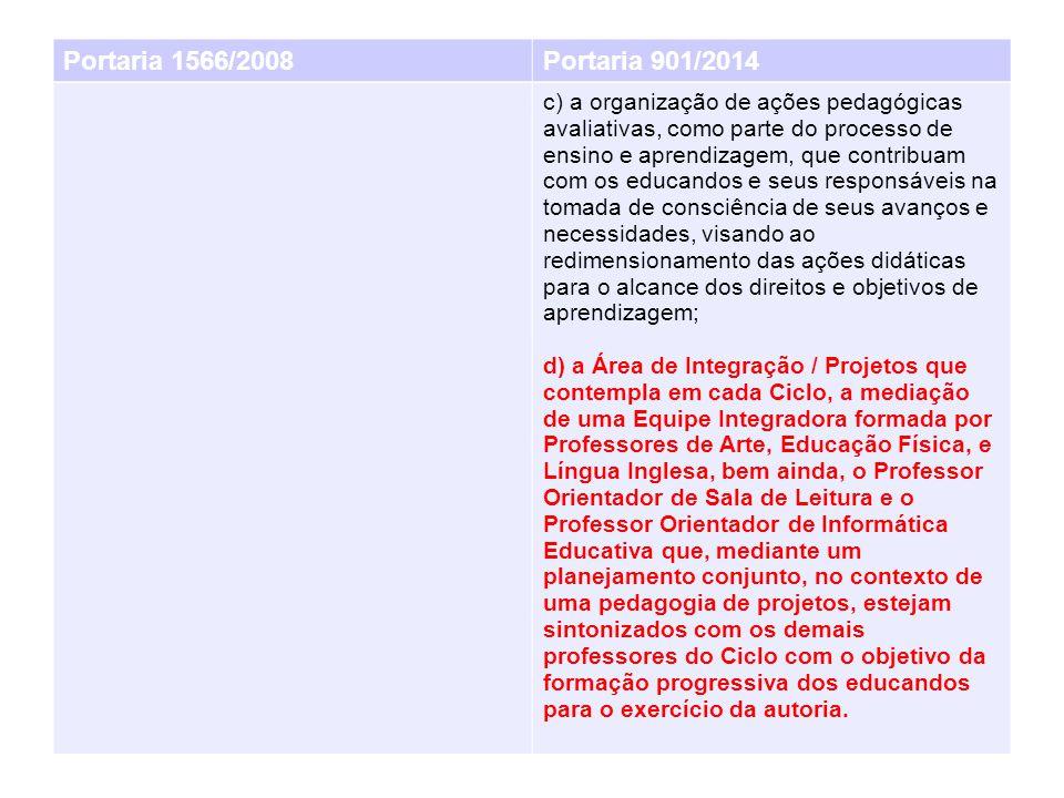 Portaria 1566/2008Portaria 901/2014 c) a organização de ações pedagógicas avaliativas, como parte do processo de ensino e aprendizagem, que contribuam com os educandos e seus responsáveis na tomada de consciência de seus avanços e necessidades, visando ao redimensionamento das ações didáticas para o alcance dos direitos e objetivos de aprendizagem; d) a Área de Integração / Projetos que contempla em cada Ciclo, a mediação de uma Equipe Integradora formada por Professores de Arte, Educação Física, e Língua Inglesa, bem ainda, o Professor Orientador de Sala de Leitura e o Professor Orientador de Informática Educativa que, mediante um planejamento conjunto, no contexto de uma pedagogia de projetos, estejam sintonizados com os demais professores do Ciclo com o objetivo da formação progressiva dos educandos para o exercício da autoria.