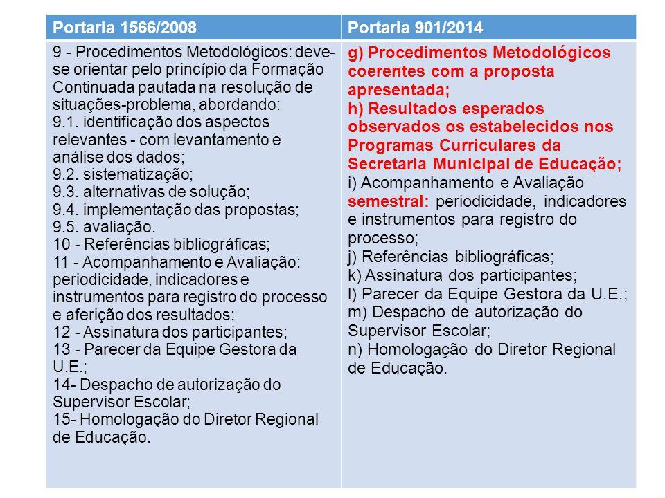 15/9/2014 Portaria 1566/2008Portaria 901/2014 9 - Procedimentos Metodológicos: deve- se orientar pelo princípio da Formação Continuada pautada na resolução de situações-problema, abordando: 9.1.