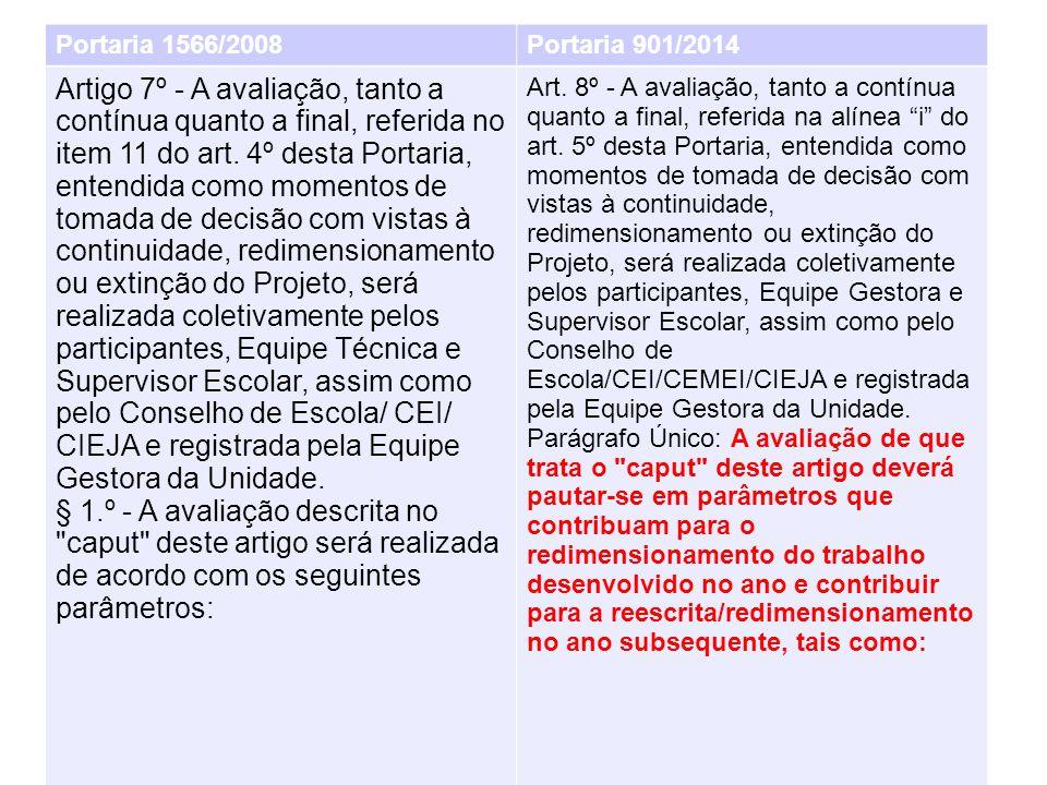 Portaria 1566/2008Portaria 901/2014 Artigo 7º - A avaliação, tanto a contínua quanto a final, referida no item 11 do art.