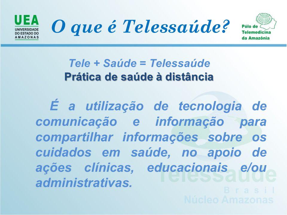 O que é Telessaúde? Tele + Saúde = Telessaúde P rática de saúde à distância É a utilização de tecnologia de comunicação e informação para compartilhar