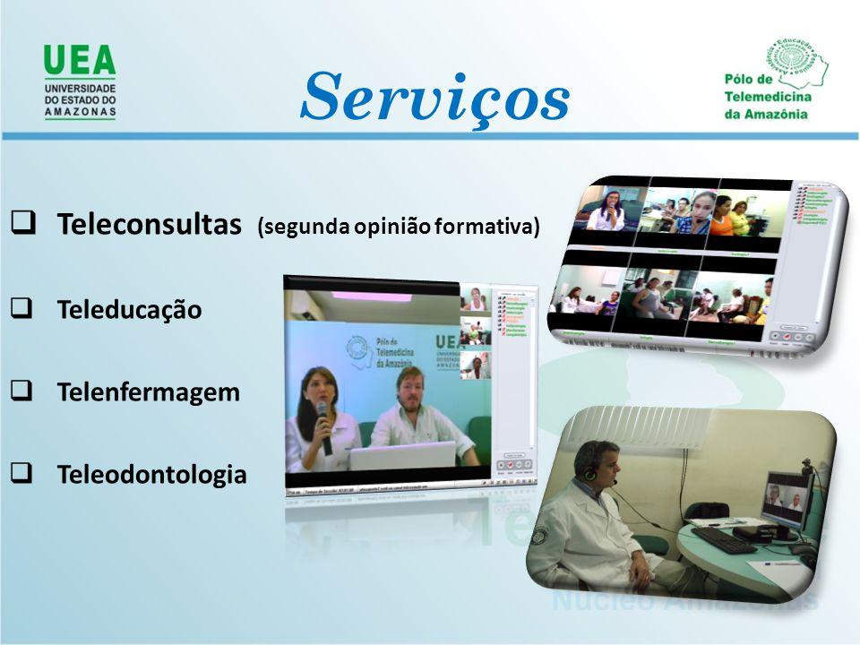  Teleconsultas (segunda opinião formativa)  Teleducação  Telenfermagem  Teleodontologia Serviços