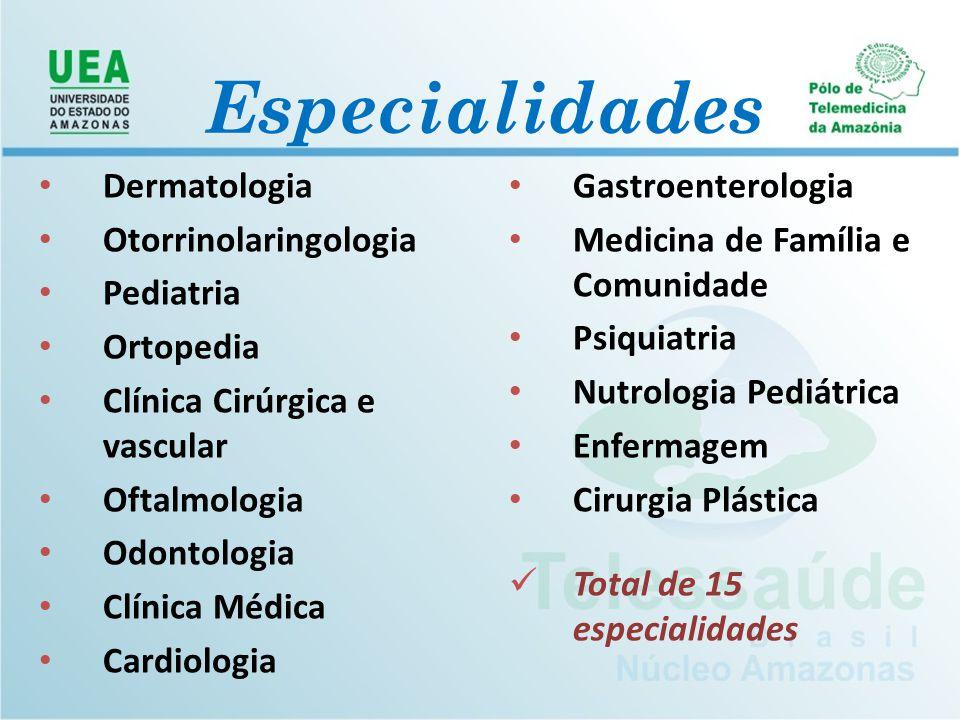 Dermatologia Otorrinolaringologia Pediatria Ortopedia Clínica Cirúrgica e vascular Oftalmologia Odontologia Clínica Médica Cardiologia Gastroenterolog