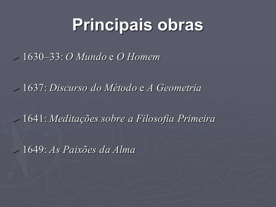 Meditações ► Título completo: Meditações relativas à primeira filosofia, nas quais a existência de Deus e a distinção real entre a alma e o corpo do homem são demonstradas