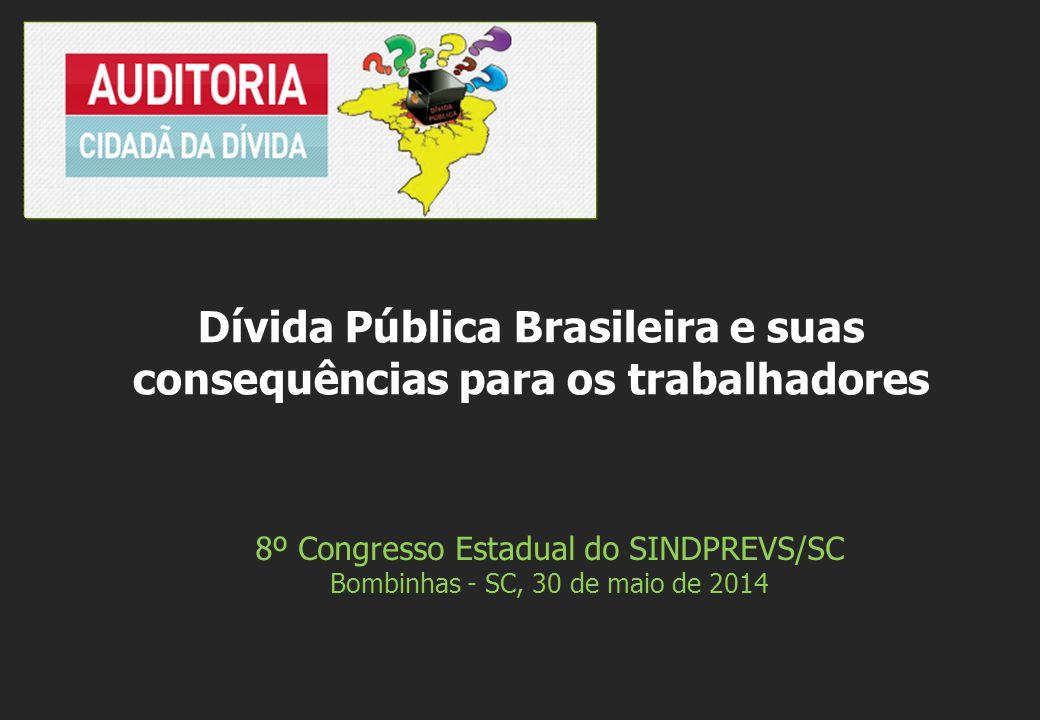 8º Congresso Estadual do SINDPREVS/SC Bombinhas - SC, 30 de maio de 2014 Dívida Pública Brasileira e suas consequências para os trabalhadores