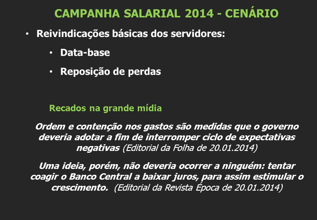 CAMPANHA SALARIAL 2014 - CENÁRIO Reivindicações básicas dos servidores: Data-base Reposição de perdas Recados na grande mídia Ordem e contenção nos ga