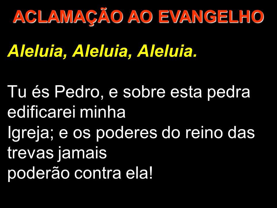 Aleluia, Aleluia, Aleluia. Tu és Pedro, e sobre esta pedra edificarei minha Igreja; e os poderes do reino das trevas jamais poderão contra ela! ACLAMA