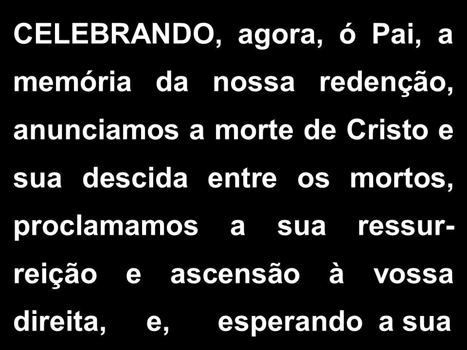 CELEBRANDO, agora, ó Pai, a memória da nossa redenção, anunciamos a morte de Cristo e sua descida entre os mortos, proclamamos a sua ressur- reição e