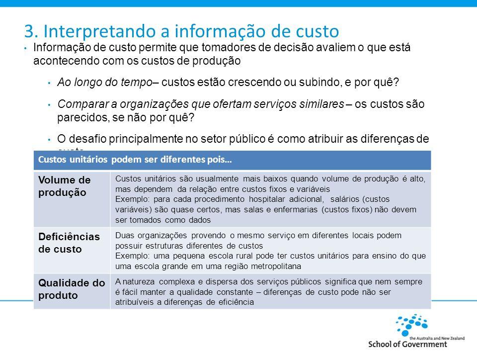 3. Interpretando a informação de custo Informação de custo permite que tomadores de decisão avaliem o que está acontecendo com os custos de produção A