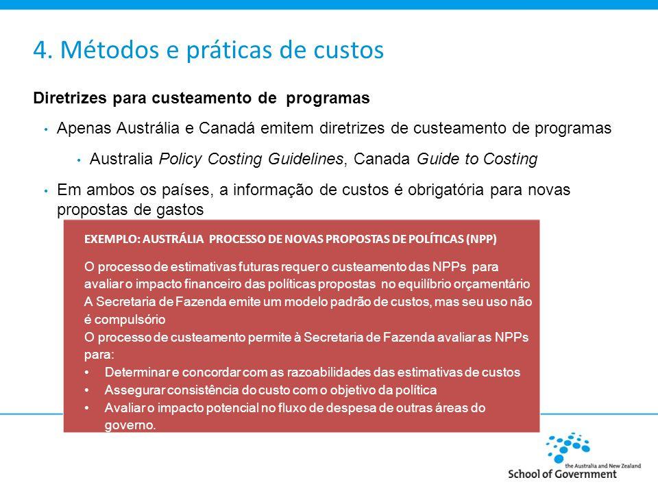 4. Métodos e práticas de custos Diretrizes para custeamento de programas Apenas Austrália e Canadá emitem diretrizes de custeamento de programas Austr