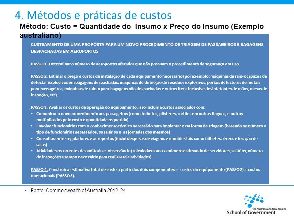 4. Métodos e práticas de custos Fonte: Commonwealth of Australia 2012, 24.
