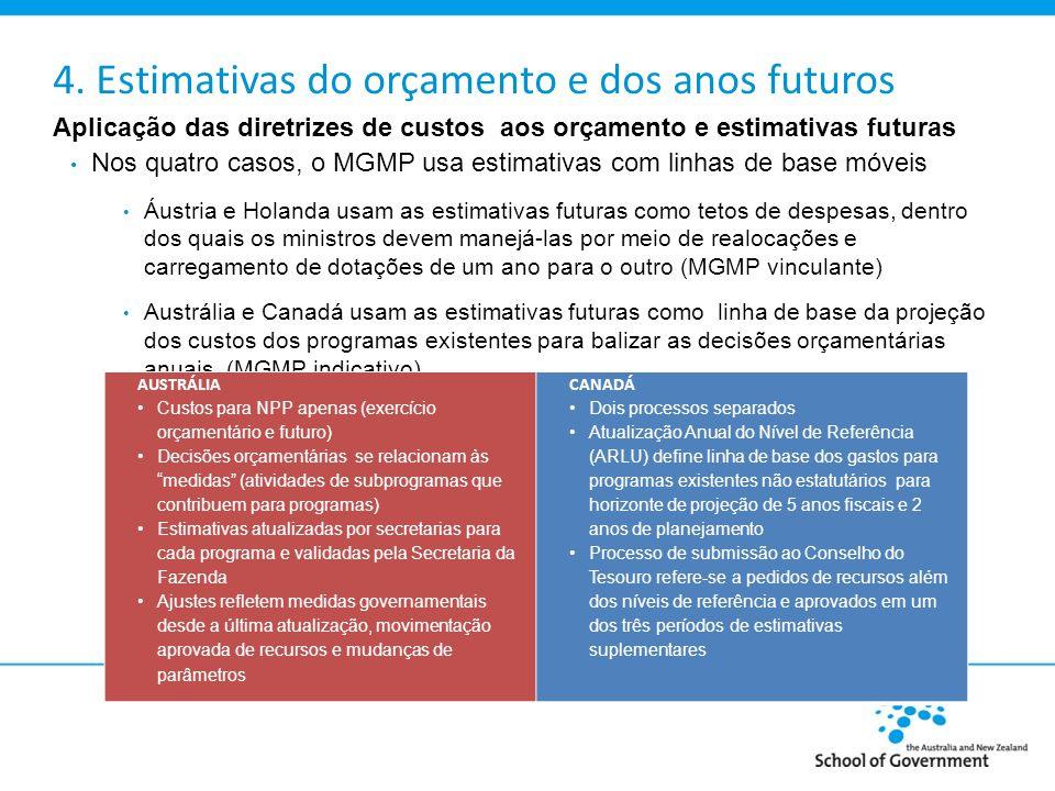 4. Estimativas do orçamento e dos anos futuros Aplicação das diretrizes de custos aos orçamento e estimativas futuras Nos quatro casos, o MGMP usa est