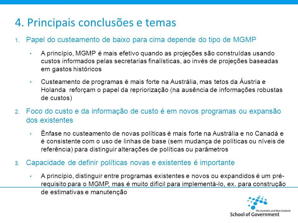 4. Principais conclusões e temas 1. Papel do custeamento de baixo para cima depende do tipo de MGMP A princípio, MGMP é mais efetivo quando as projeçõ