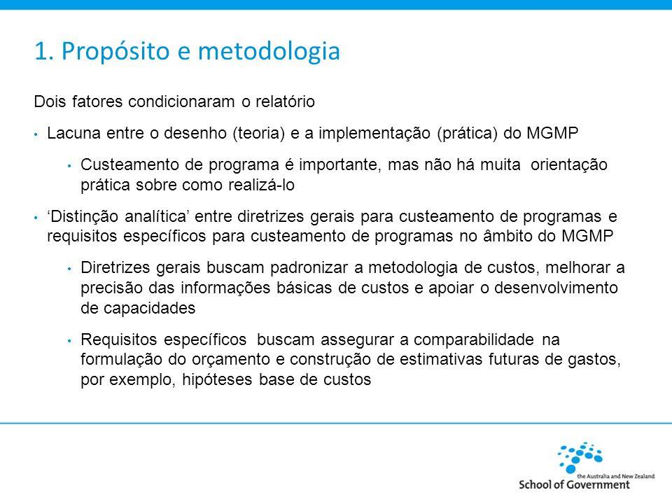 1. Propósito e metodologia Dois fatores condicionaram o relatório Lacuna entre o desenho (teoria) e a implementação (prática) do MGMP Custeamento de p