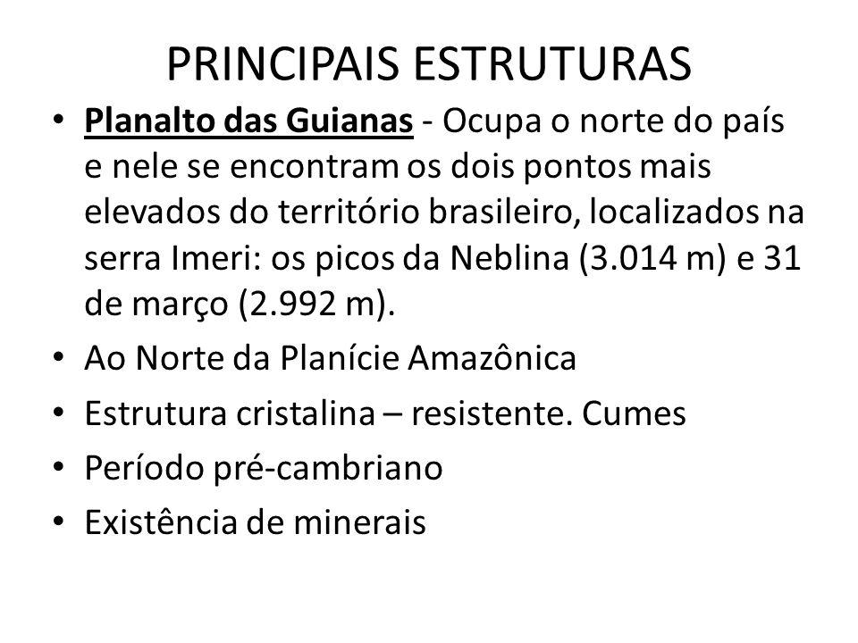 PRINCIPAIS ESTRUTURAS Planalto das Guianas - Ocupa o norte do país e nele se encontram os dois pontos mais elevados do território brasileiro, localiza