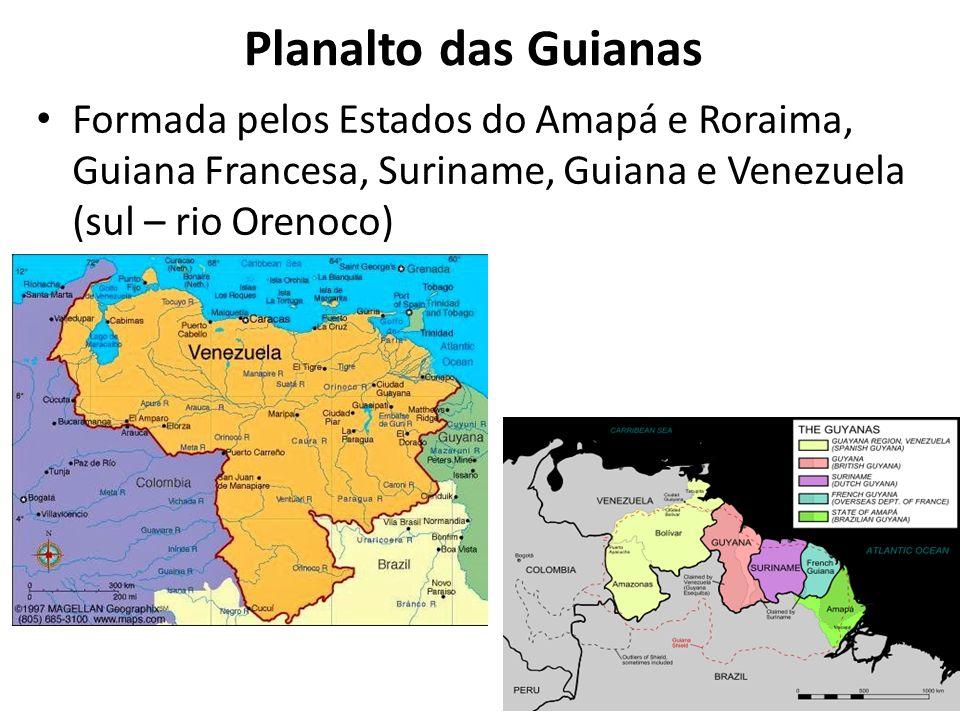 Planalto das Guianas Formada pelos Estados do Amapá e Roraima, Guiana Francesa, Suriname, Guiana e Venezuela (sul – rio Orenoco)