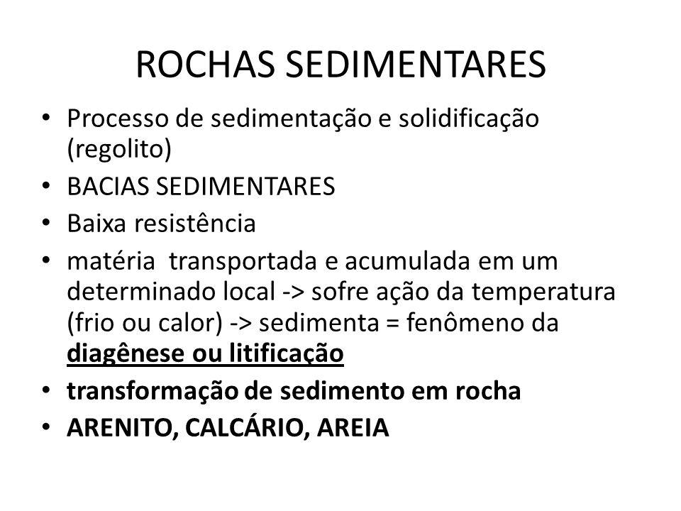 ROCHAS SEDIMENTARES Processo de sedimentação e solidificação (regolito) BACIAS SEDIMENTARES Baixa resistência matéria transportada e acumulada em um d