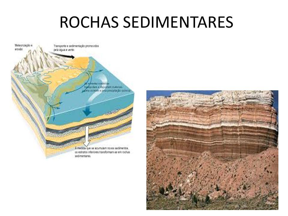 ROCHAS METAMÓRFICAS sofrem modificação (TRANSFORMAÇÃO) em sua composição atômica ( P e T) nova rocha, novas propriedades e outra composição mineral (depende da sua origem) Diferentes resistências aos processos erosivos