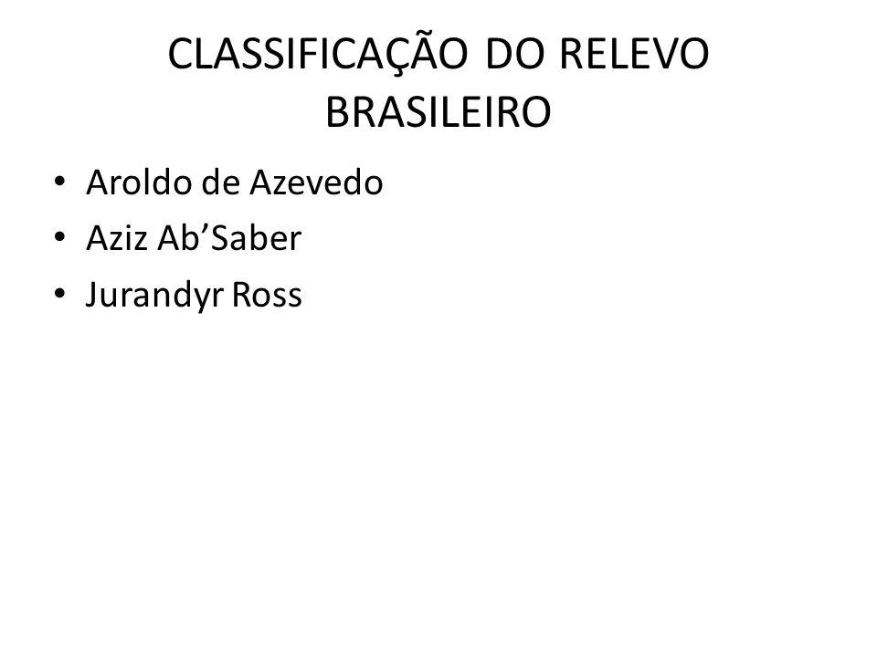 CLASSIFICAÇÃO DO RELEVO BRASILEIRO Aroldo de Azevedo Aziz Ab'Saber Jurandyr Ross