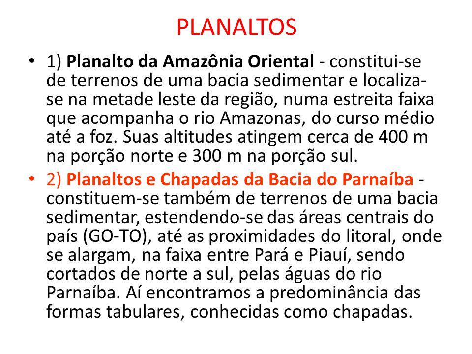 PLANALTOS 1) Planalto da Amazônia Oriental - constitui-se de terrenos de uma bacia sedimentar e localiza- se na metade leste da região, numa estreita