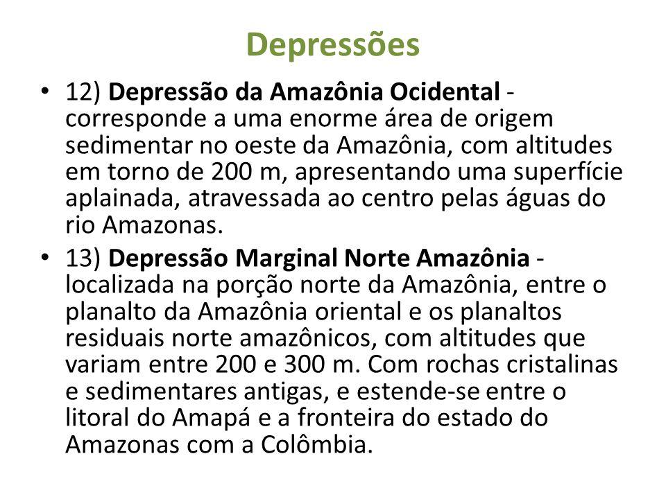 Depressões 12) Depressão da Amazônia Ocidental - corresponde a uma enorme área de origem sedimentar no oeste da Amazônia, com altitudes em torno de 20