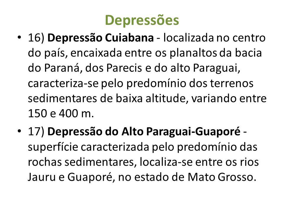 Depressões 16) Depressão Cuiabana - localizada no centro do país, encaixada entre os planaltos da bacia do Paraná, dos Parecis e do alto Paraguai, car