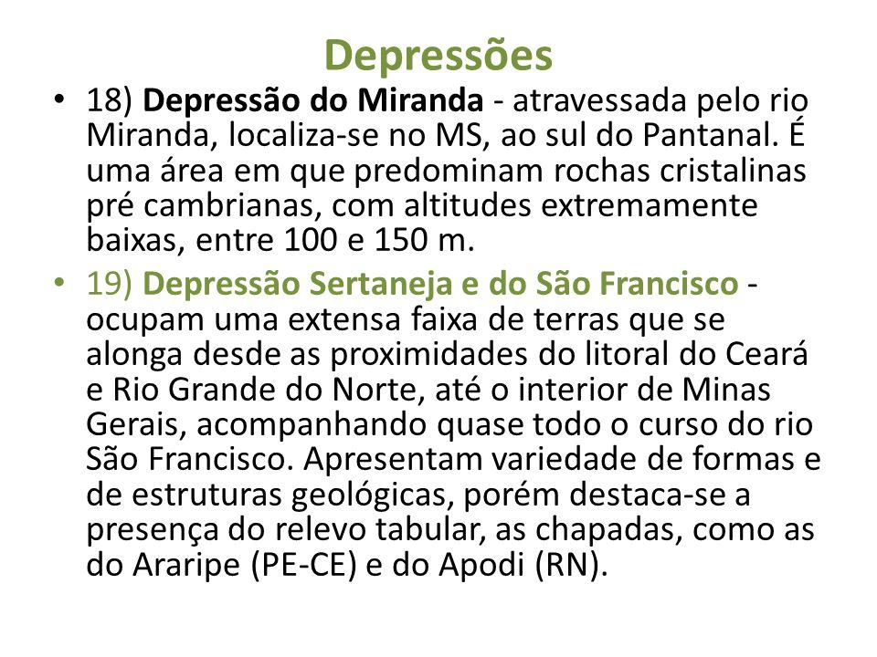 Depressões 18) Depressão do Miranda - atravessada pelo rio Miranda, localiza-se no MS, ao sul do Pantanal. É uma área em que predominam rochas cristal