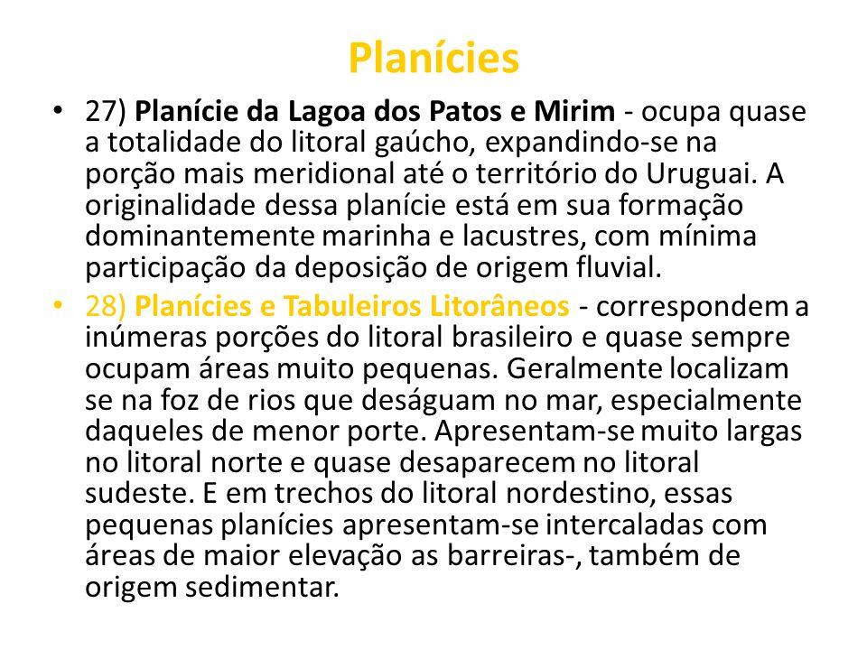 Planícies 27) Planície da Lagoa dos Patos e Mirim - ocupa quase a totalidade do litoral gaúcho, expandindo-se na porção mais meridional até o territór