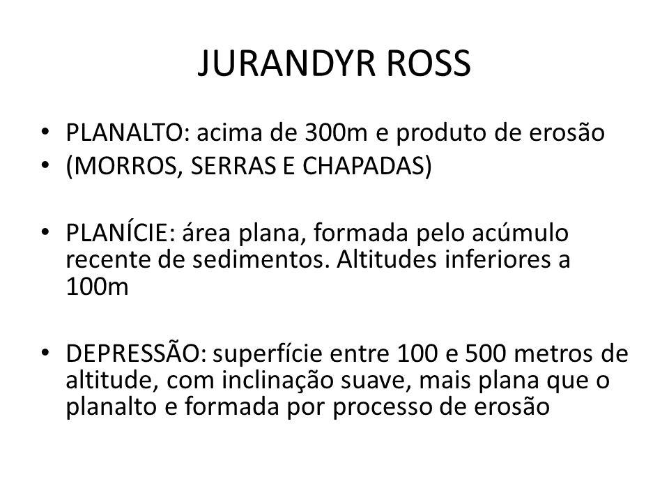 JURANDYR ROSS PLANALTO: acima de 300m e produto de erosão (MORROS, SERRAS E CHAPADAS) PLANÍCIE: área plana, formada pelo acúmulo recente de sedimentos