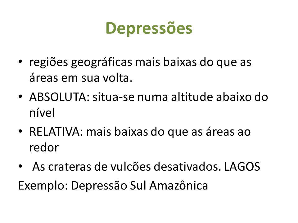 Depressões regiões geográficas mais baixas do que as áreas em sua volta. ABSOLUTA: situa-se numa altitude abaixo do nível RELATIVA: mais baixas do que