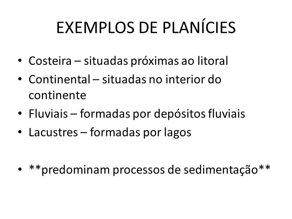 EXEMPLOS DE PLANÍCIES Costeira – situadas próximas ao litoral Continental – situadas no interior do continente Fluviais – formadas por depósitos fluvi