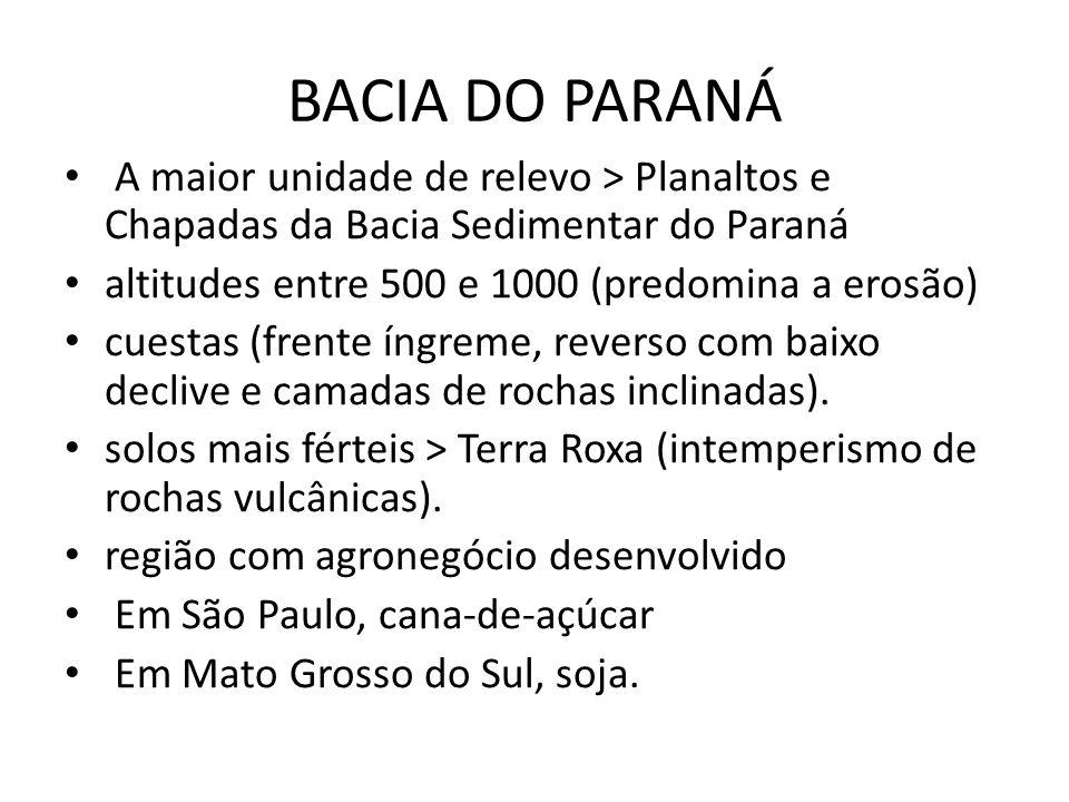 A maior unidade de relevo > Planaltos e Chapadas da Bacia Sedimentar do Paraná altitudes entre 500 e 1000 (predomina a erosão) cuestas (frente íngreme