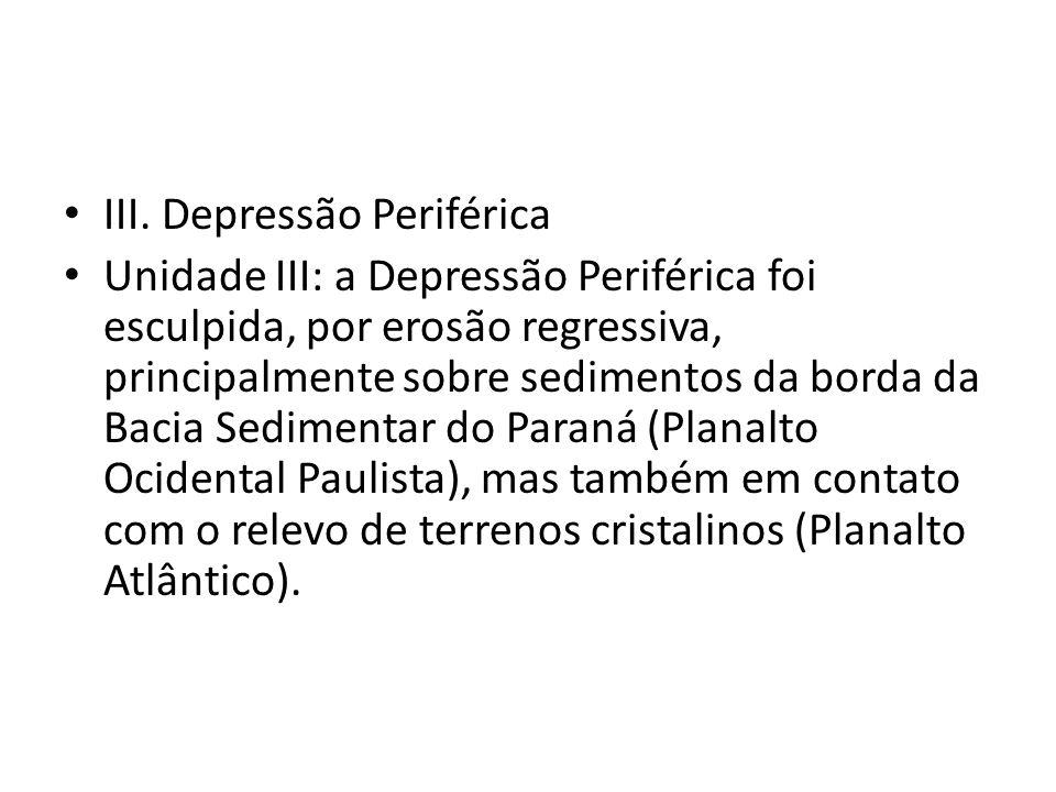III. Depressão Periférica Unidade III: a Depressão Periférica foi esculpida, por erosão regressiva, principalmente sobre sedimentos da borda da Bacia