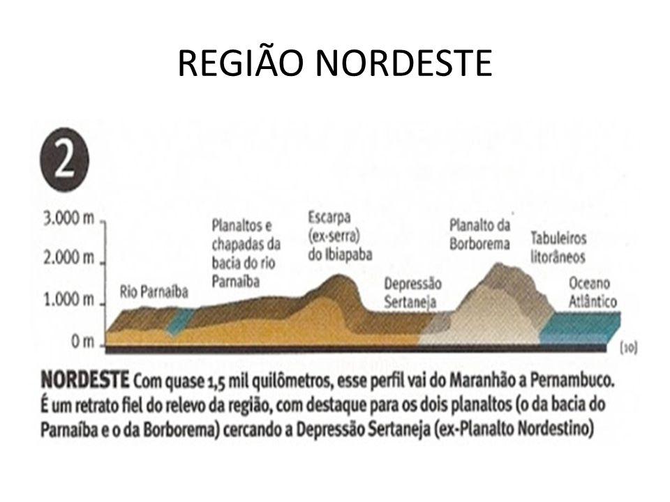 sentido noroeste - sudeste: Rio Parnaíba, Planaltos e Chapadas da Bacia do Rio Parnaíba, Escarpa ( ex serra) do Ibiapaba, Depressão Sertaneja, Planalto da Borborema, Tabuleiros Litorâneos.