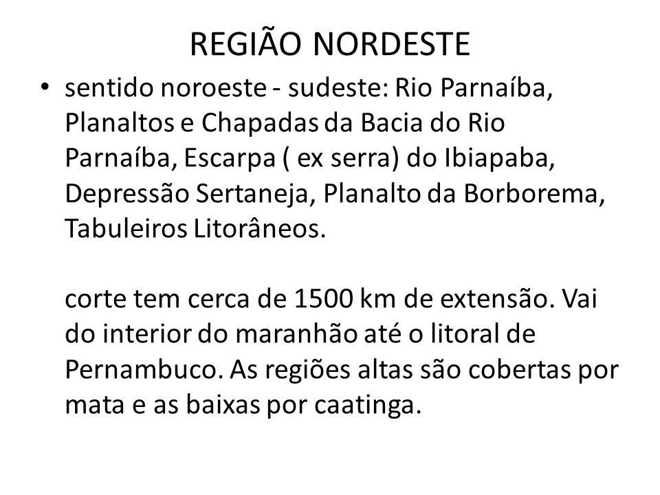 sentido noroeste - sudeste: Rio Parnaíba, Planaltos e Chapadas da Bacia do Rio Parnaíba, Escarpa ( ex serra) do Ibiapaba, Depressão Sertaneja, Planalt