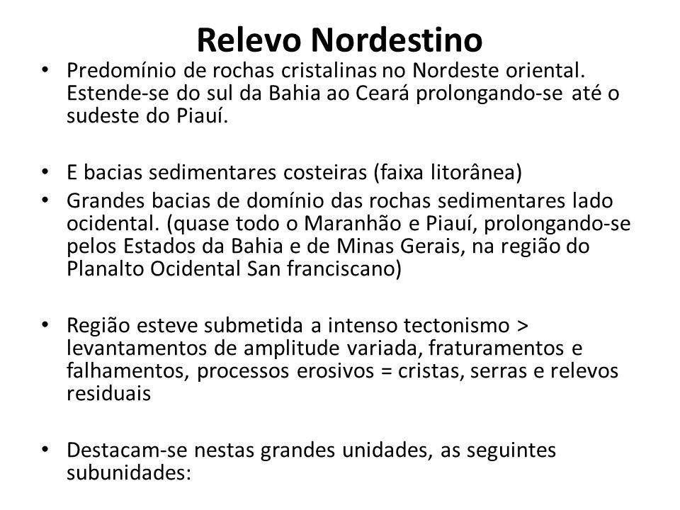 Relevo Nordestino Predomínio de rochas cristalinas no Nordeste oriental. Estende-se do sul da Bahia ao Ceará prolongando-se até o sudeste do Piauí. E