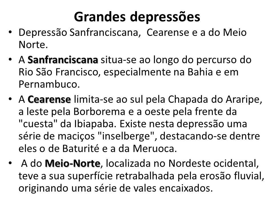 Grandes depressões Depressão Sanfranciscana, Cearense e a do Meio Norte. Sanfranciscana A Sanfranciscana situa-se ao longo do percurso do Rio São Fran