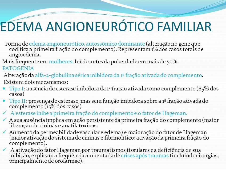 EDEMA ANGIONEURÓTICO FAMILIAR Forma de edema angioneurótico, autossômico dominante (alteração no gene que codifica a primeira fração do complemento).
