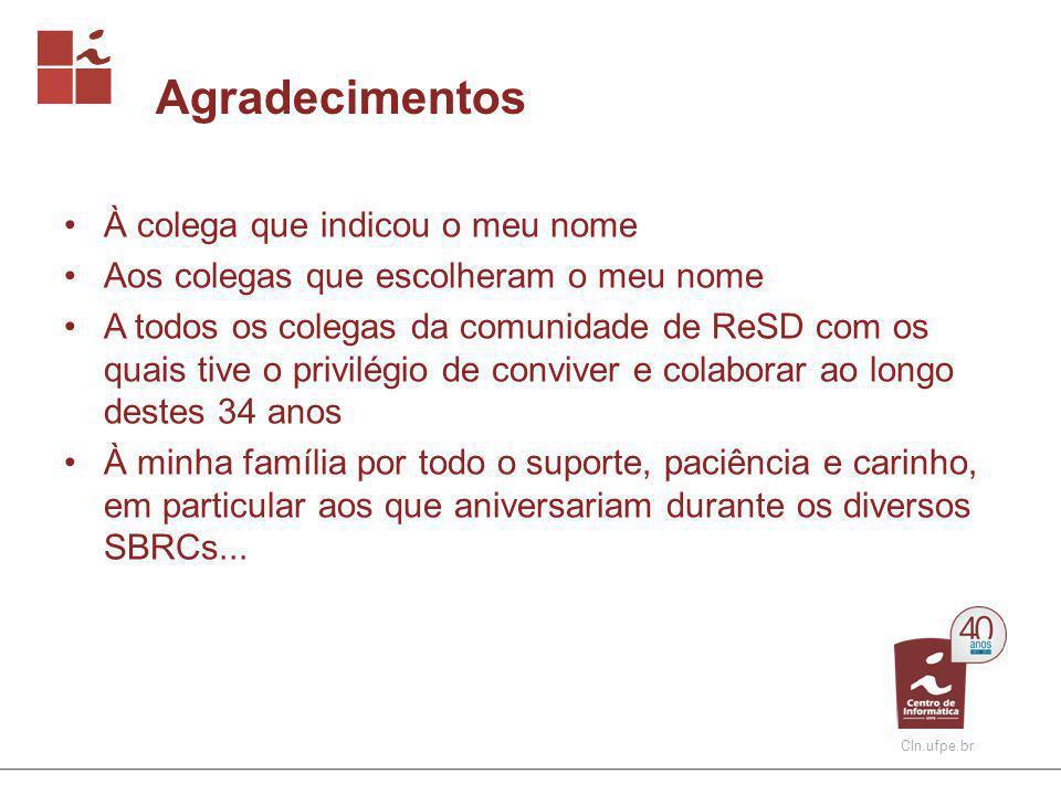 CIn.ufpe.br Prêmio Destaque SBRC Critérios para indicação: 1.Reconhecida colaboração para a área de ReSD ao longo da existência do evento (alguém que coordenou comitê de programa do SBRC, e/ou organizou o SBRC e comparece sempre ao evento).