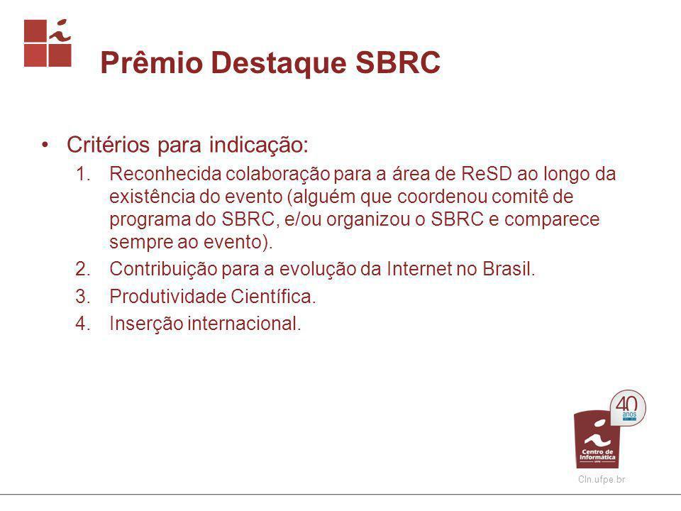 Linha do Tempo 2008 26º SBRC (Rio) Uso de DTNs pela NASA Surgimento do OpenFlow 2008 Participação no 26º SBRC GT-BackStreamDB (08-10) (P) Serviço MonIPÊ (08-11) (C) 2010 28º SBRC (Gramado) 2010 Participação no 28º SBRC GT-Mediciones (RedClara) (10-13) (C) 2009 27º SBRC (Recife) 2009 Participação no 27º SBRC INCT em Ciência da Web (P) Projeto MonEELA2 (99-10) (C) Projeto MonCircuitos (99-10) (C)