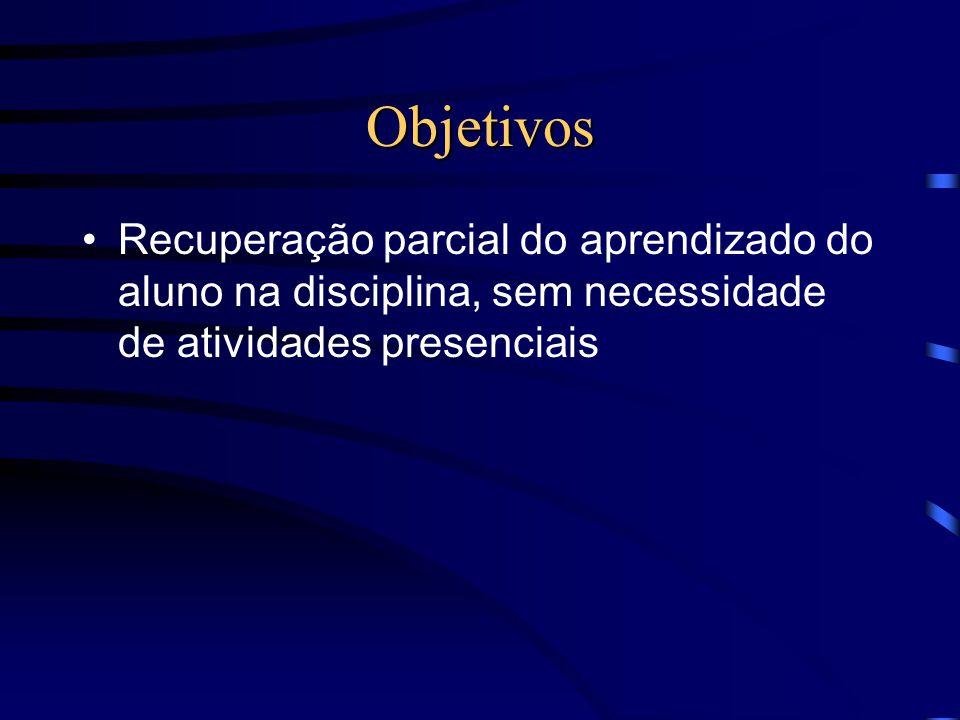 Objetivos Recuperação parcial do aprendizado do aluno na disciplina, sem necessidade de atividades presenciais