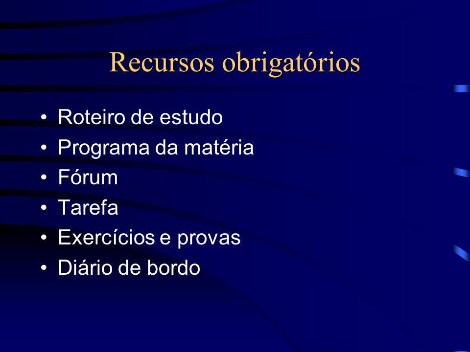 Recursos opcionais Diagnóstico das deficiências de cada aluno Lista de perguntas que podem cair Glossário da disciplina Slides do professor