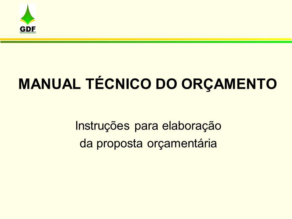 MANUAL TÉCNICO DO ORÇAMENTO Instruções para elaboração da proposta orçamentária