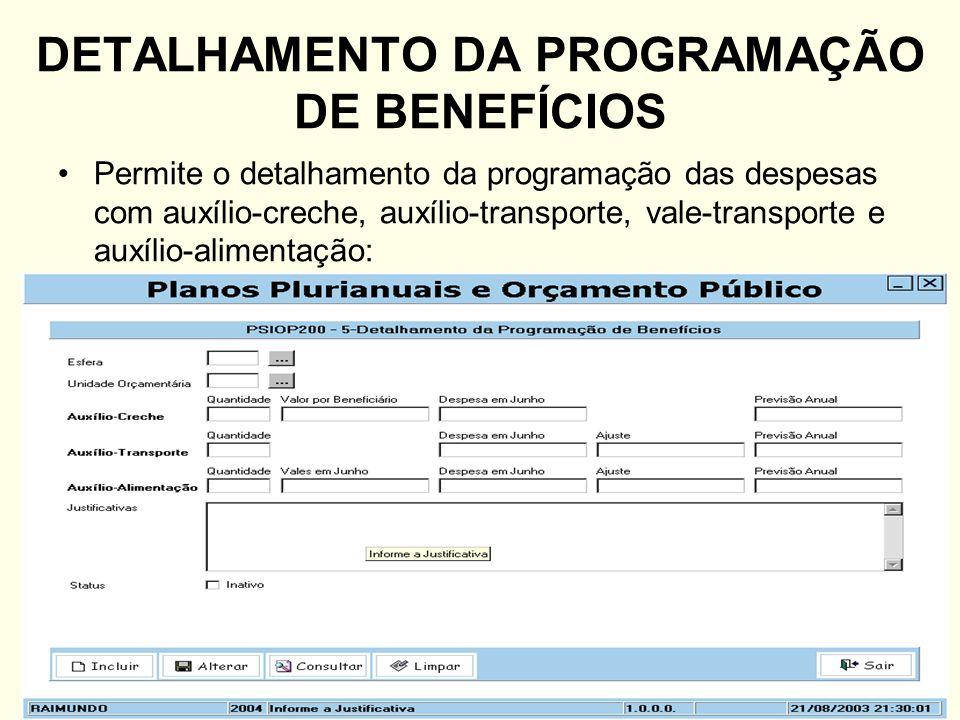 DETALHAMENTO DA PROGRAMAÇÃO DE BENEFÍCIOS Permite o detalhamento da programação das despesas com auxílio-creche, auxílio-transporte, vale-transporte e
