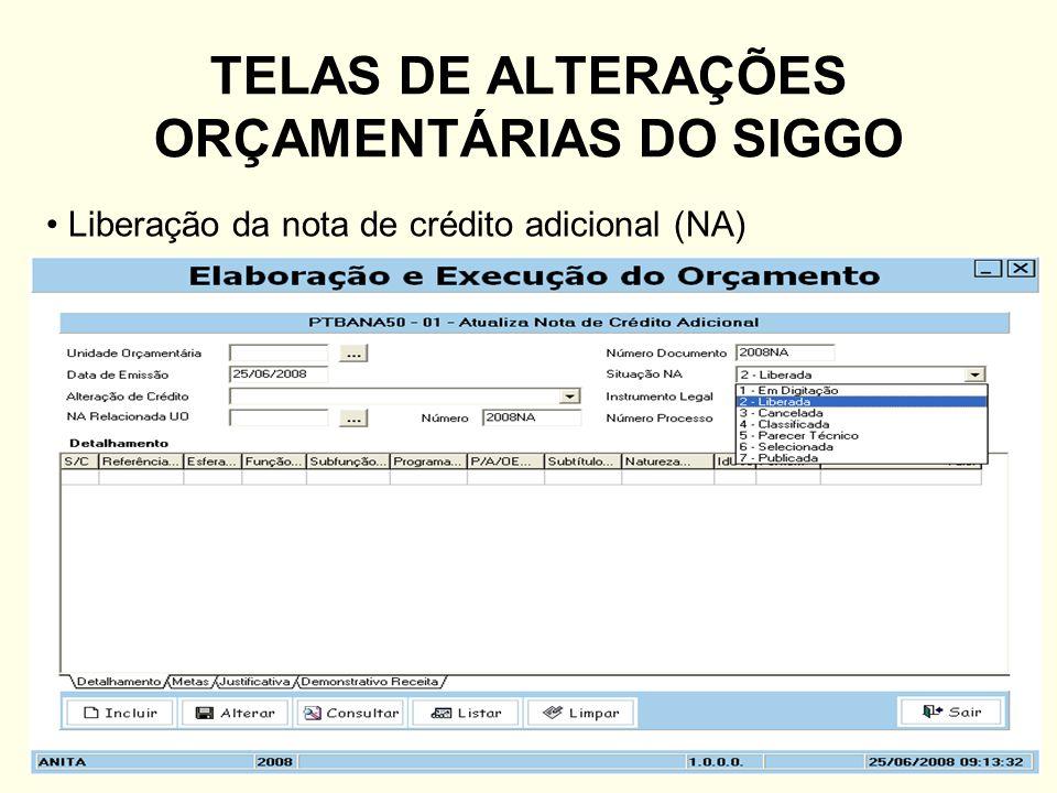 TELAS DE ALTERAÇÕES ORÇAMENTÁRIAS DO SIGGO Liberação da nota de crédito adicional (NA)
