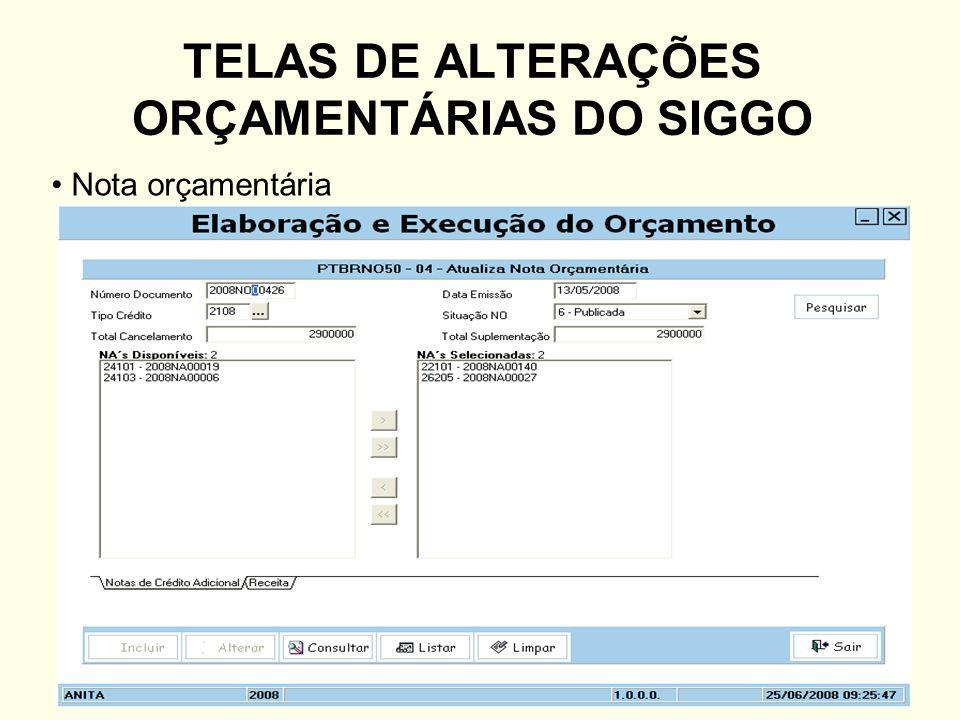 TELAS DE ALTERAÇÕES ORÇAMENTÁRIAS DO SIGGO Nota orçamentária