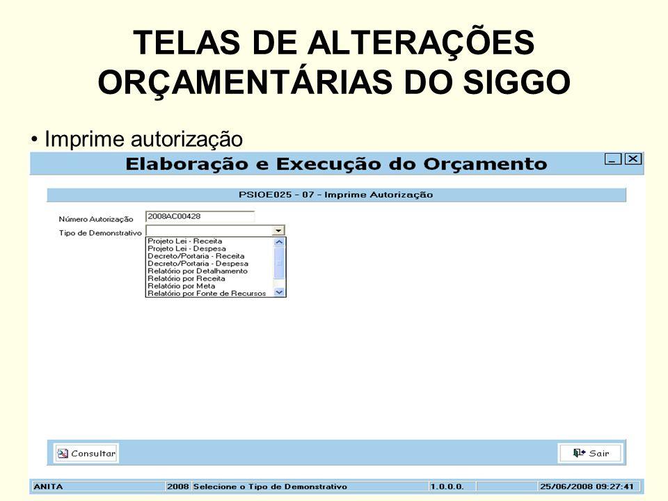 TELAS DE ALTERAÇÕES ORÇAMENTÁRIAS DO SIGGO Imprime autorização