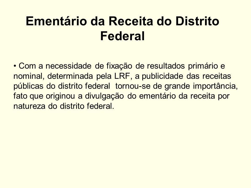 Ementário da Receita do Distrito Federal Com a necessidade de fixação de resultados primário e nominal, determinada pela LRF, a publicidade das receit