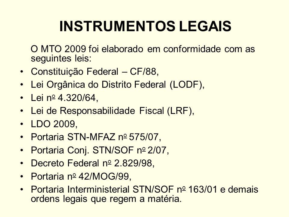 INSTRUMENTOS LEGAIS O MTO 2009 foi elaborado em conformidade com as seguintes leis: Constituição Federal – CF/88, Lei Orgânica do Distrito Federal (LO